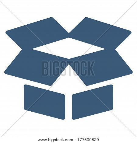 Open Box vector icon. Flat blue symbol. Pictogram is isolated on a white background. Designed for web and software interfaces.