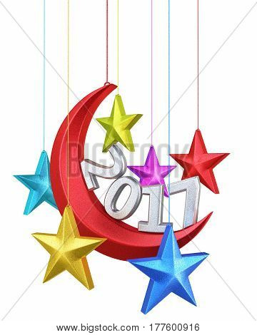 3d render New year 2017 moon and stars shape christmas decorations (isolated on white and clipping path)