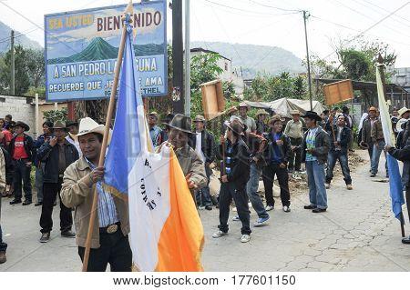 Mayan Indigenous Celebrating The Arrival Of The Bishop At San Pedro On Lake Atitlan