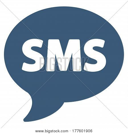 SMS vector icon. Flat blue symbol. Pictogram is isolated on a white background. Designed for web and software interfaces.