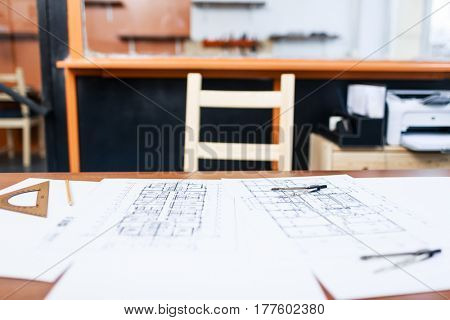Empty workroom of modern engineer or architect