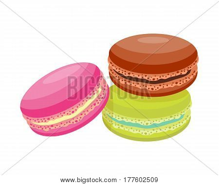 Cookie macaroon homemade breakfast bake cakes isolated and tasty snack biscuit pastry delicious sweet dessert bakery eating vector illustration. Gourmet indulgence stack unhealthy confectionery.
