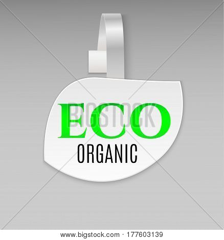 Vector blank shape white leaf eco organic paper plastic advertising price wobbler front view. Isolated on background. Advertising price stickers for organic natural food and goods.Vector illustration