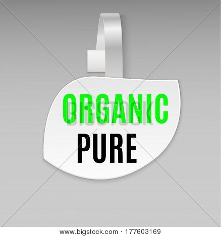 Vector blank shape white leaf organic pure paper plastic advertising price wobbler front view. Isolated on background. Advertising price stickers for organic natural food and goods.Vector illustration