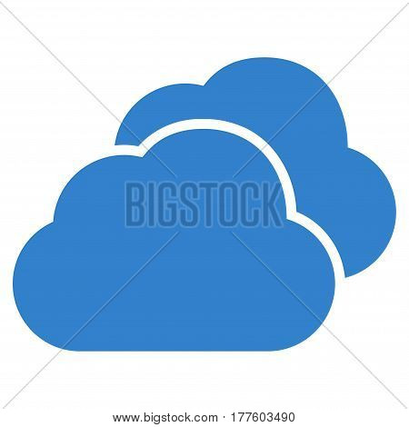 Clouds vector icon. Flat cobalt symbol. Pictogram is isolated on a white background. Designed for web and software interfaces.
