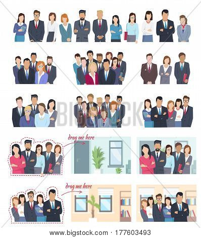 Office employees of all kind in working environment and isolated on white background. Successful bosses, responsible deputy chiefs, executive managers and hard working employees. Set of business people.