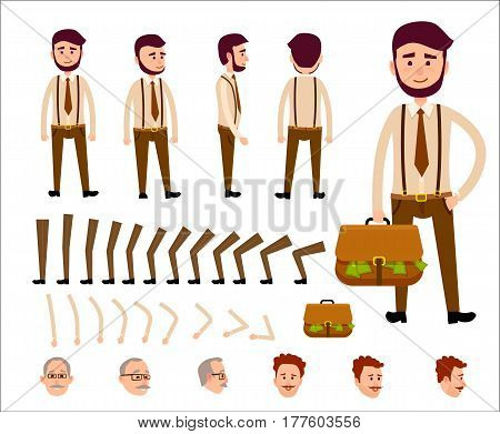 Cartoon man constructor includes legs, hands, original head, red head with mustaches and old man head in glasses and separate briefcase. Vector illustration of businessman with bag full of money.