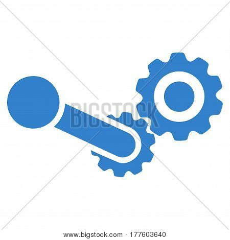 Engine vector icon. Flat cobalt symbol. Pictogram is isolated on a white background. Designed for web and software interfaces.