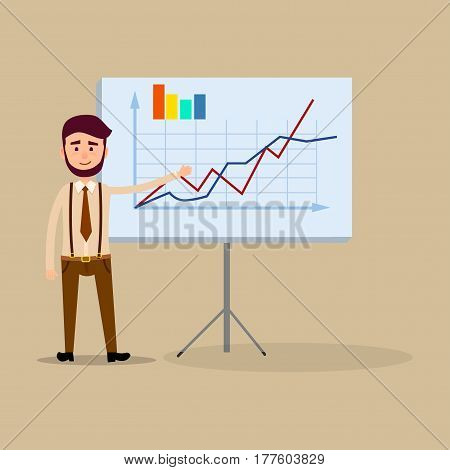 Manager standing near placard with charts flat design. Male making report or presentation showing on board. Dressed in white shirt, black shoes, brown trousers, suspenders and tie vector illustration