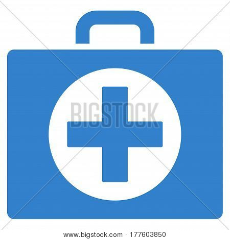 First Aid vector icon. Flat cobalt symbol. Pictogram is isolated on a white background. Designed for web and software interfaces.