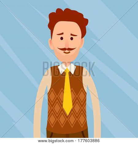 Caucasian man with curly hair and whisker close-up portrait on glass blue background. Red-haired male dressed in white shirt, brown jerkin and yellow necktie vector illustration in cartoon style.