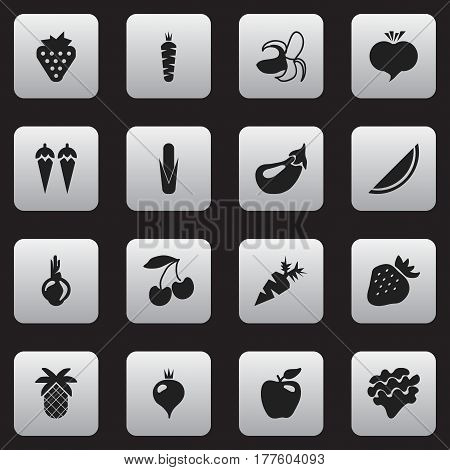 Set Of 16 Editable Dessert Icons. Includes Symbols Such As Honeycrisp, Turnip, Strawberry And More. Can Be Used For Web, Mobile, UI And Infographic Design.
