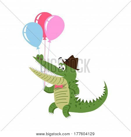 Cartoon crocodile with air balloons in hat isolated on white background. Cute big reptile vector illustration. Drawn friendly croc character going to make present on holiday in flat design