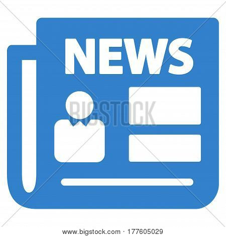 News vector icon. Flat cobalt symbol. Pictogram is isolated on a white background. Designed for web and software interfaces.