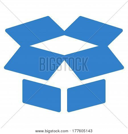 Open Box vector icon. Flat cobalt symbol. Pictogram is isolated on a white background. Designed for web and software interfaces.