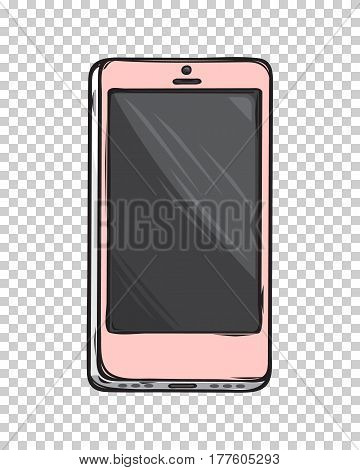 Pink glamorous smartphone isolated on transparent background. Modern device in fashionable girlish design. Vector illustration of last model cellphone in rose gold coloring for stylish women.