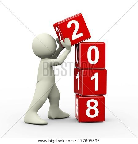 3d rendering of person placing 2018 new year cubes. 3d illustration of human people character