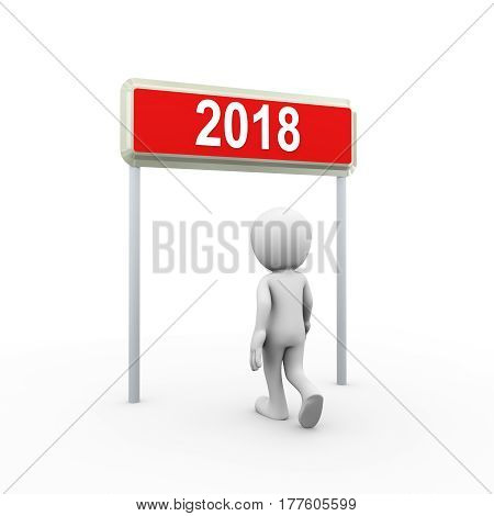 3d man walking and entering in the new year 2018. 3d white person people man