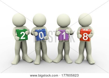 3d rendering of people holding colorful text box of new year 2018. 3d illustration of human character.