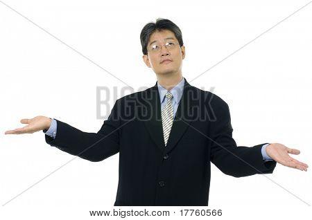 businesswoman shrugging her shoulder