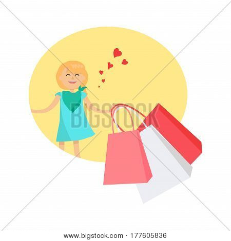 Happy blond young girl happy to receive presents in pink and white bags in yellow circle isolated on white background. Gifts for Friendship Day. Cheerful female character shopping vector illustration.