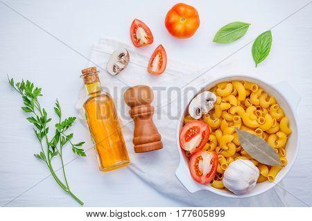 Basil ,tomato ,garlic ,extra Virgin Olive Oil ,parsley ,bay Leaves And Champignon  On White Backgrou