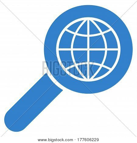 Search Globe Place vector icon. Flat cobalt symbol. Pictogram is isolated on a white background. Designed for web and software interfaces.