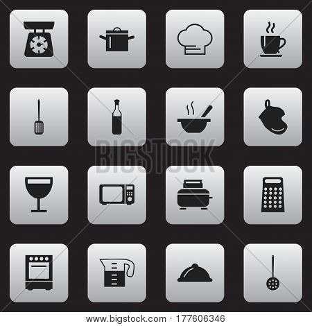 Set Of 16 Editable Cooking Icons. Includes Symbols Such As Strainer, Water Jug, Food Libra And More. Can Be Used For Web, Mobile, UI And Infographic Design.