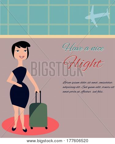 Flat illustration of the woman in the airport. Have a nice flight.