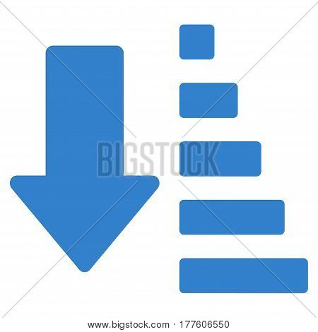 Sort Down Arrow vector icon. Flat cobalt symbol. Pictogram is isolated on a white background. Designed for web and software interfaces.