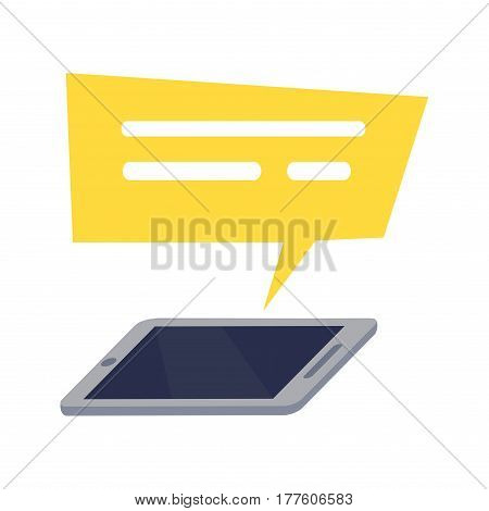 Mobile phone with yellow rectangle speech on white background. Vector illustration of of web chatting, online texting, messaging, connection, communication dialog, sending information flat design.