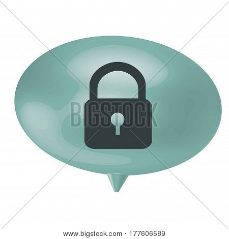 blue bubble padlock icon, vector illustration design