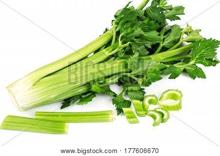 Bunch of fresh celery stalk with leaves. Studio Photo