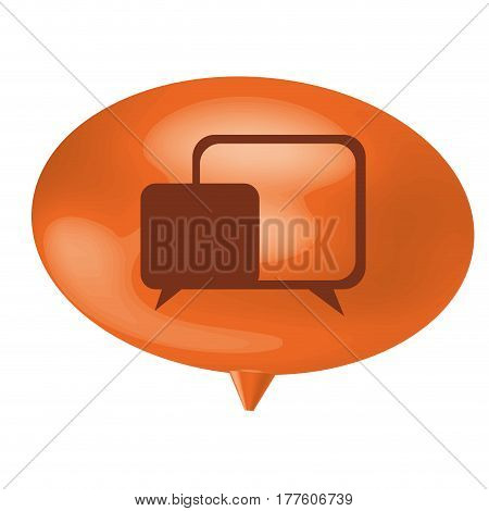 orange bubble with chat bubbles inside, vector illustration design