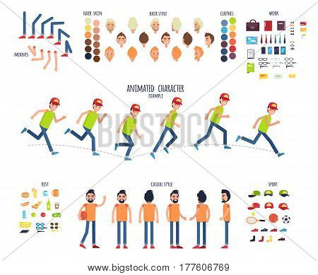 Create your own character colorful vector set in flat design on white. Examples of running boy, man set in casual clothes, skin colors, legs and hands moves, sport equipments, work accessories