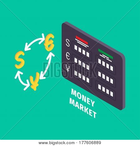 Currency exchange and table of money market icon graphic symbol on turquoise background. Vector illustration of online banking in cartoon style flat design. Drawn figure for infographics, websites.
