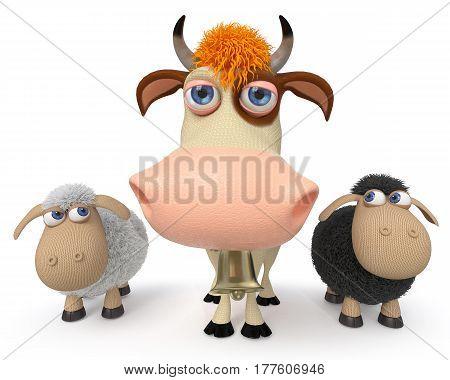 3d illustration farm animals and lamb are