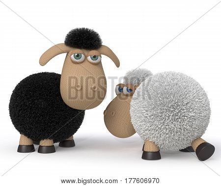 3d illustration mutual relation between two sheep