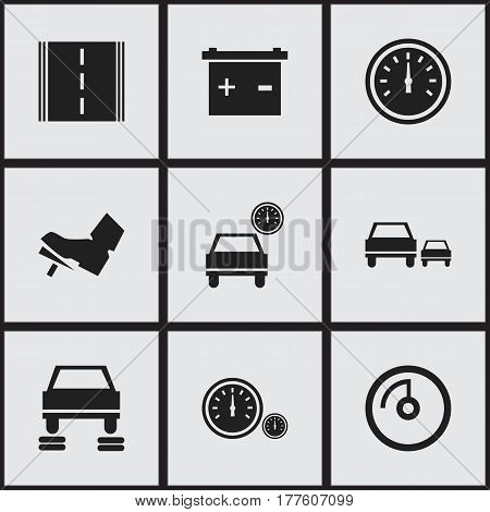 Set Of 9 Editable Vehicle Icons. Includes Symbols Such As Highway, Speed Display, Speed Control And More. Can Be Used For Web, Mobile, UI And Infographic Design.