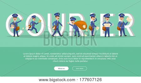 Courier conceptual web banner with cartoon postman characters. Postal couriers delivering letters and parcels flat vector illustration. Horizontal concept with mailman for mail service landing page