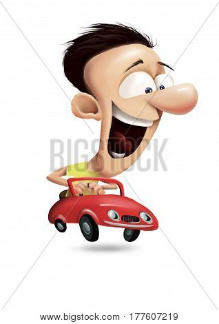 happy man driving red cabrio car and enjojing speeding