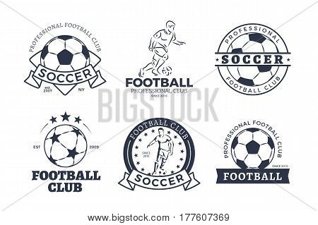 Set of football club graphic icons flat design on white background. Black and whitey hand drawn patterns with round ball or soccer player. Vector illustration in cartoon style of sport team game logos
