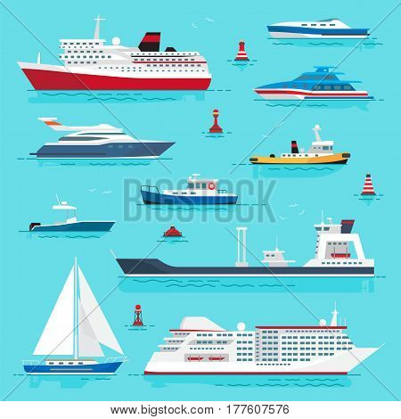 Set of sea transport flat style on blue water background. Vector illustration of cruise liner, passenger boat, powerful speedboats, boat with red life ring, yellow submarine, blue yacht and red buoys.