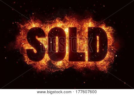 sold price deal text on fire flames explosion burning explode
