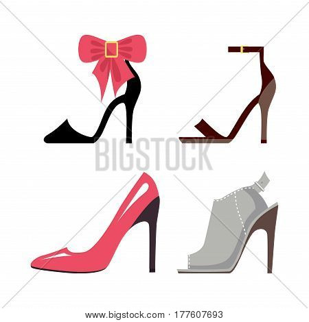 Women high-heeled shoes collection. Stylish hoe with big bow, elegant ankle straps, pink stilettos and stylish mules isolated on white background. Fashionable women footgear vector illustration.