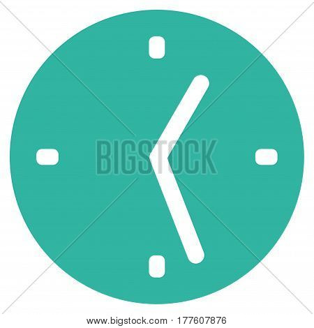 Clock vector icon. Flat cyan symbol. Pictogram is isolated on a white background. Designed for web and software interfaces.