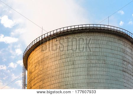 The top of cooling tower on the sky background