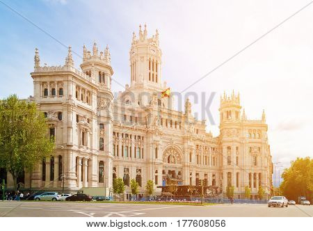 Cibeles Palace (formerly named Communications Palace) is the most prominent of the buildings at the Plaza de Cibeles in Madrid Spain.