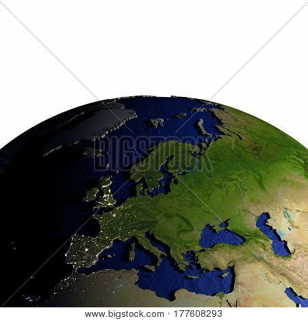 Europe On Model Of Earth With Embossed Land