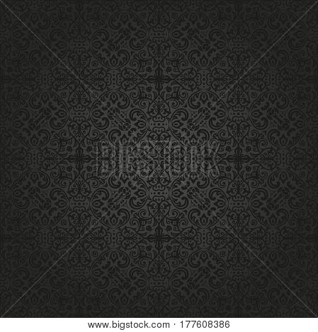 Damask classic dark pattern. Seamless abstract background with repeating elements